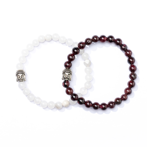 I am Supported - White Jade Mala Bracelet  - Luna & Soul Sustainable Yoga wear
