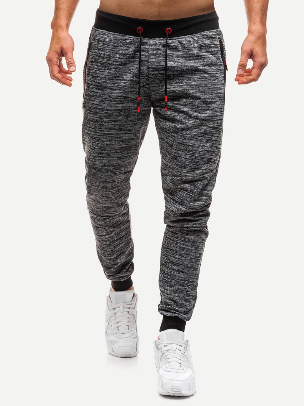 Men Space Dye Zipper & Drawstring Detail Pants