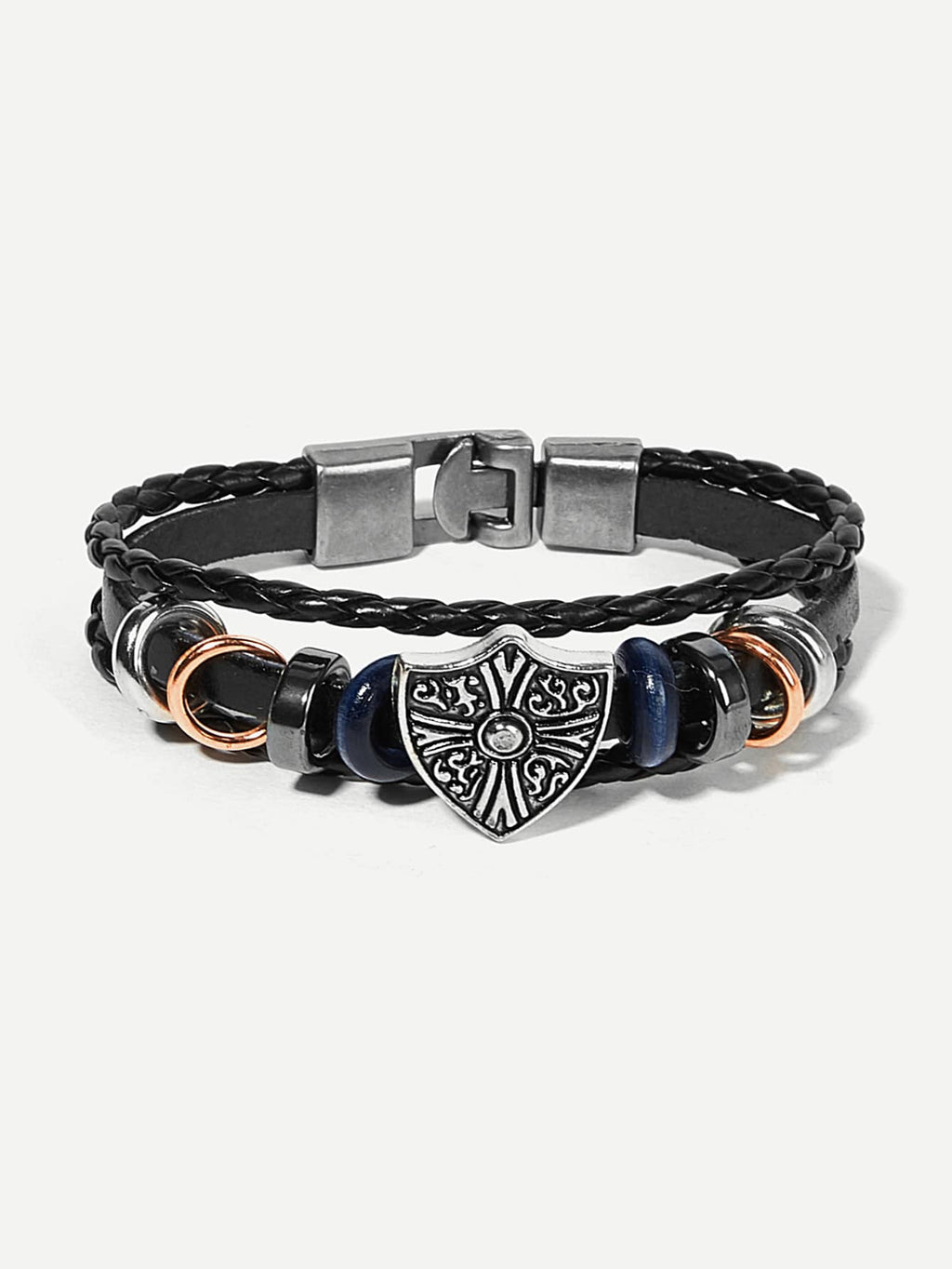 Men Shield Detail Layered Woven Bracelet