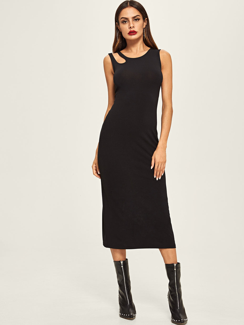 Asymmetrical Cut Out Shoulder Tee Dress