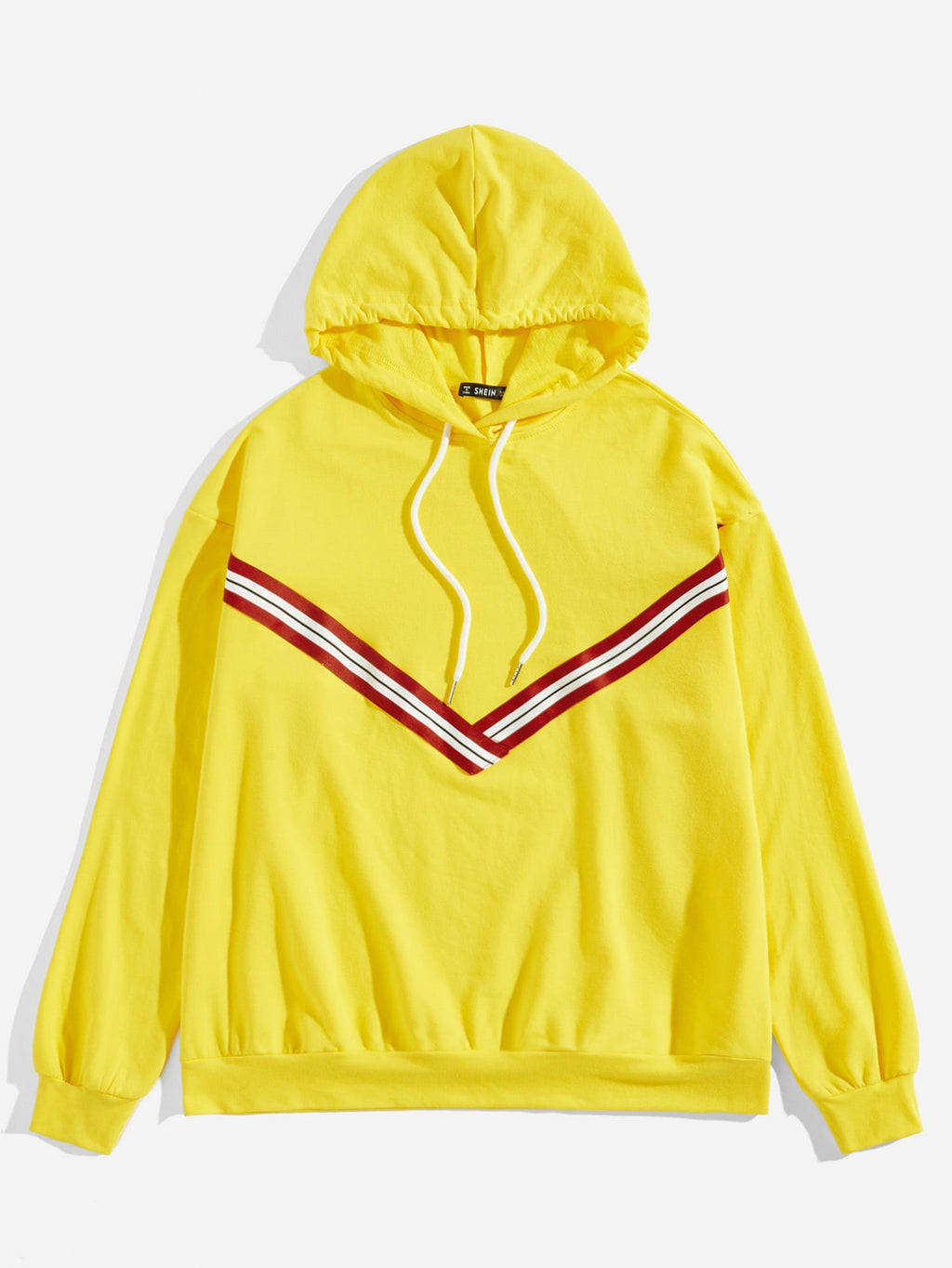 Men Striped Trim Drawstring Hoodie