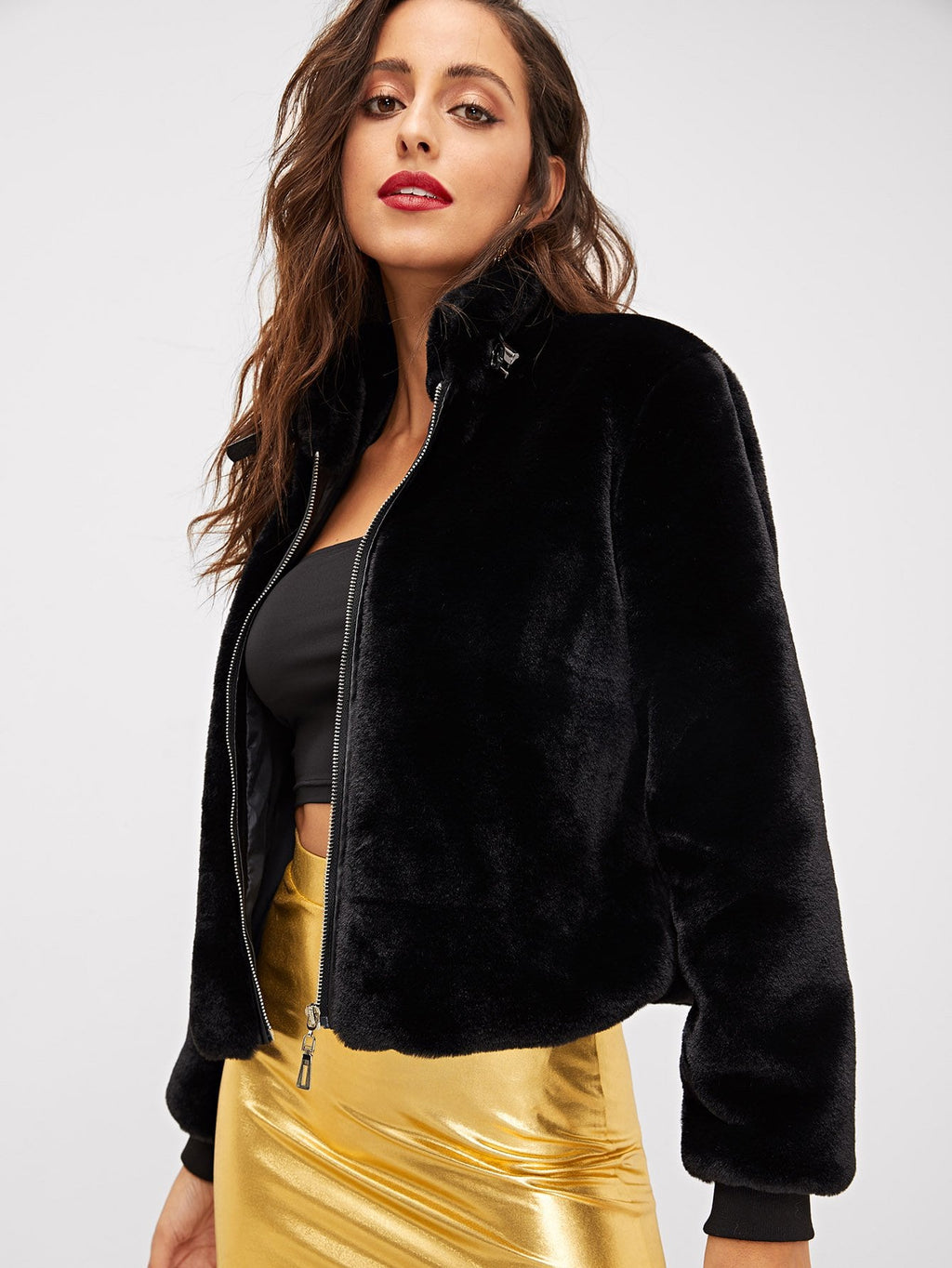 Zipper Up Front Faux Fur Jacket
