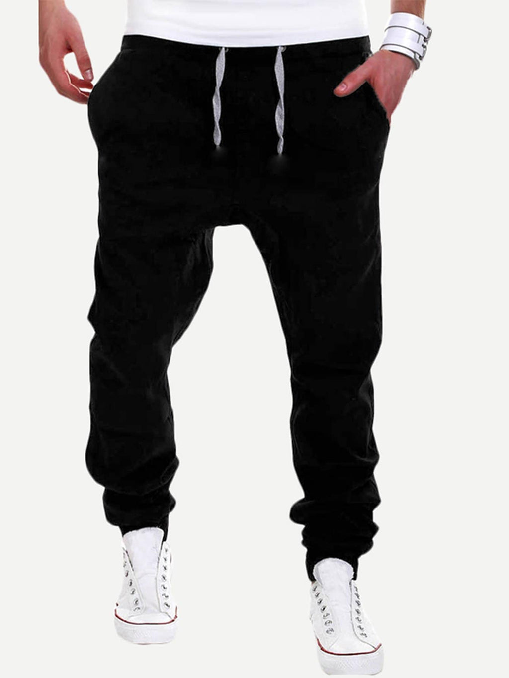 Men Solid Drawstring Joggers