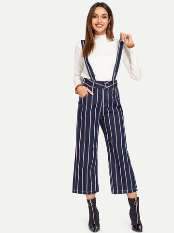 Vertical-Stripe Straight Leg Jeans With Thick Strap