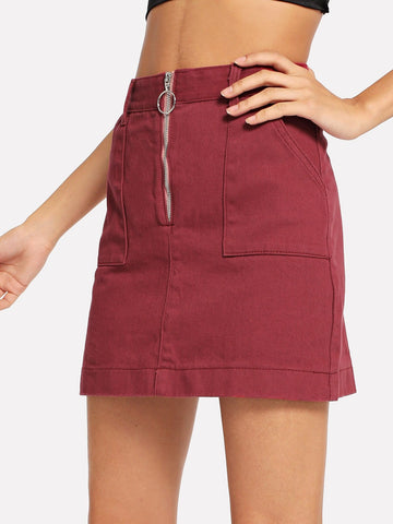 Zip Up Pocket Detail Denim Skirt