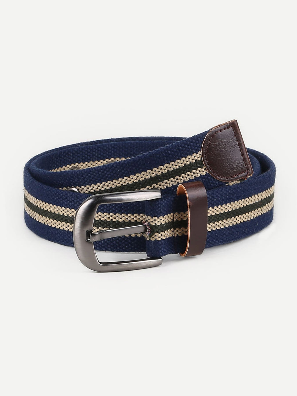 Men Striped Metal Buckle Belt