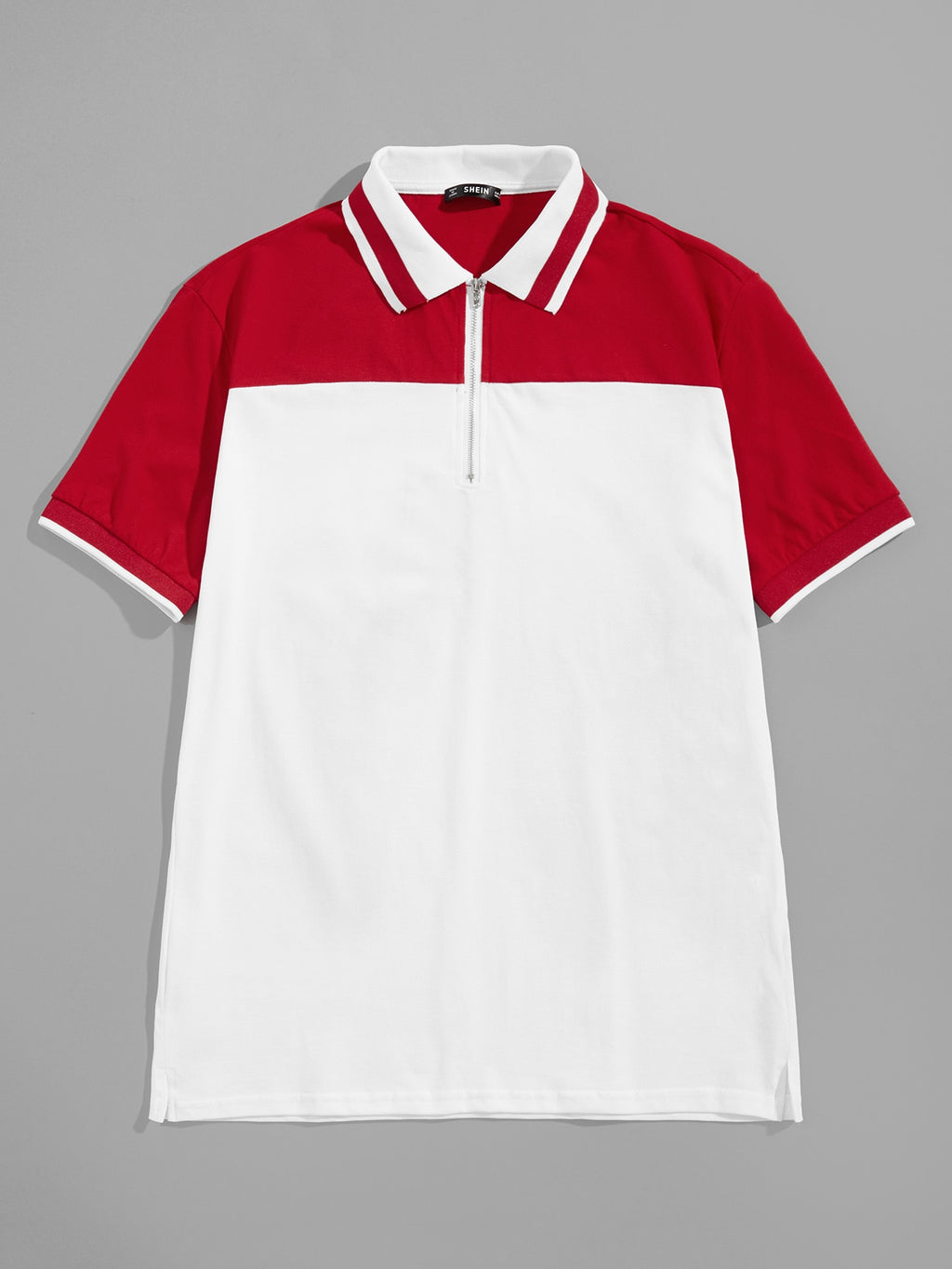 Men Zip Half Placket Polo Shirt