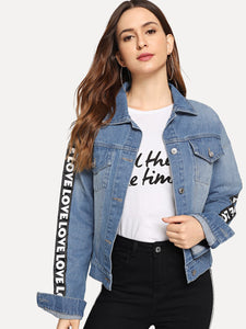 Letter Tape Side Denim Jacket