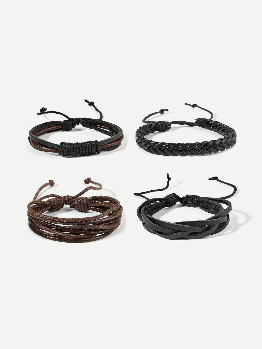 Men Woven Bracelet Set 4pcs