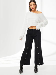 Snap Button Front Jeans