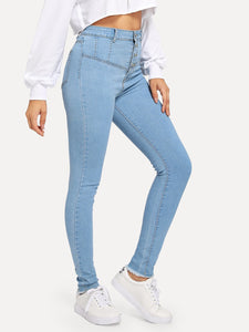 Button Front Washed Jeans