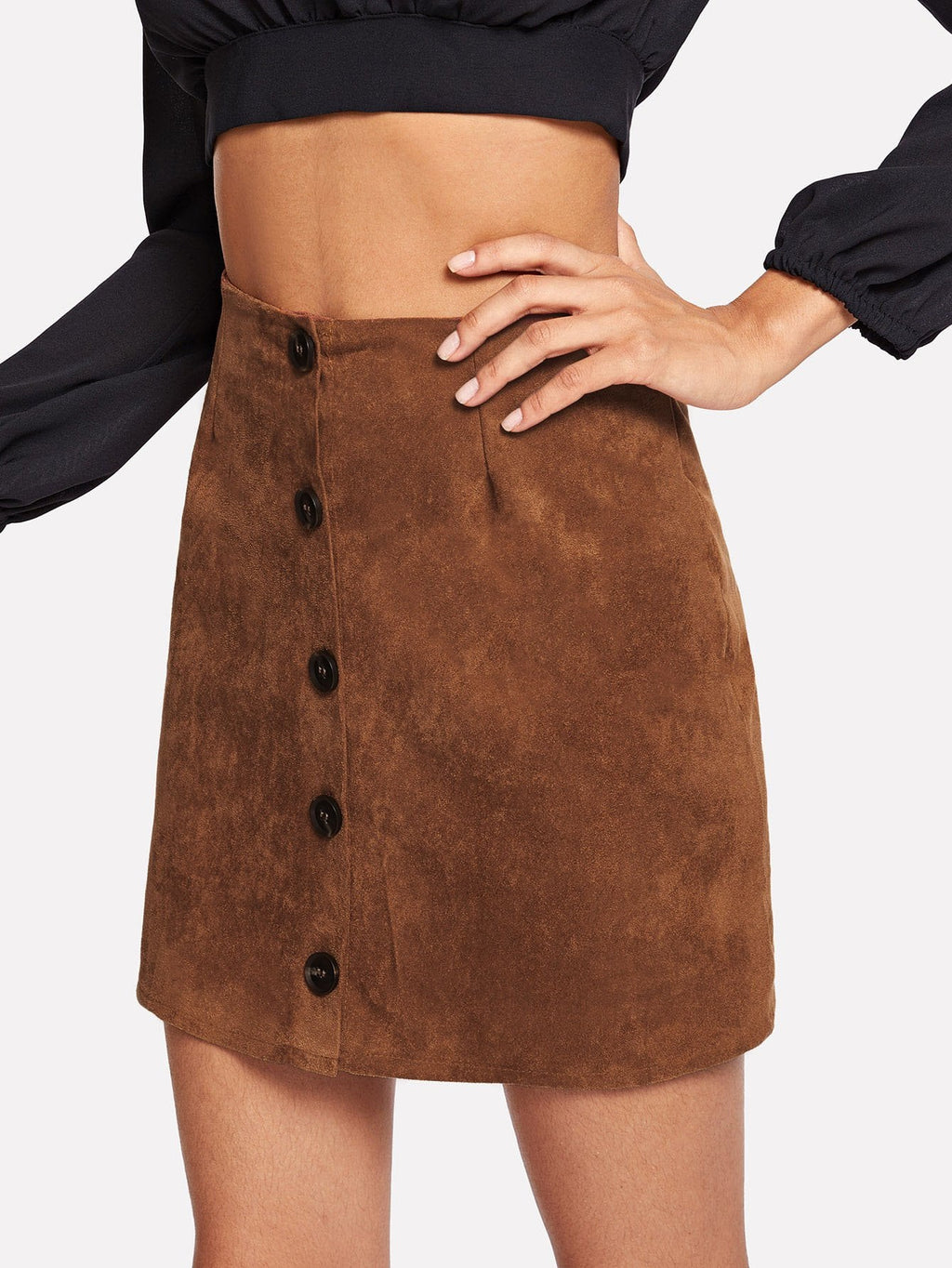 Suede Single Breasted Solid Skirt