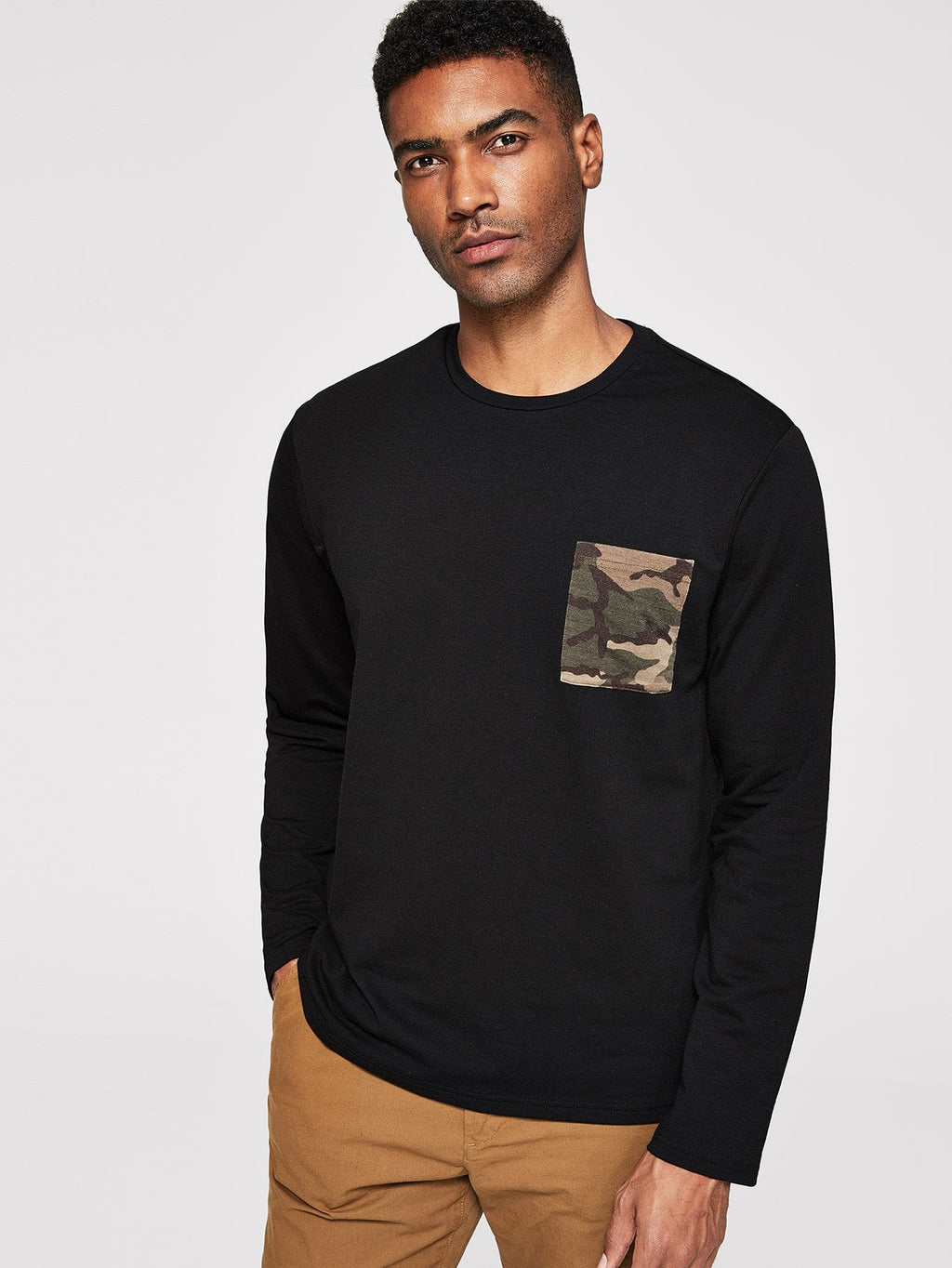 Men Camo Pocket Front Pullover