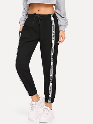 Letter Side Drawstring Pants
