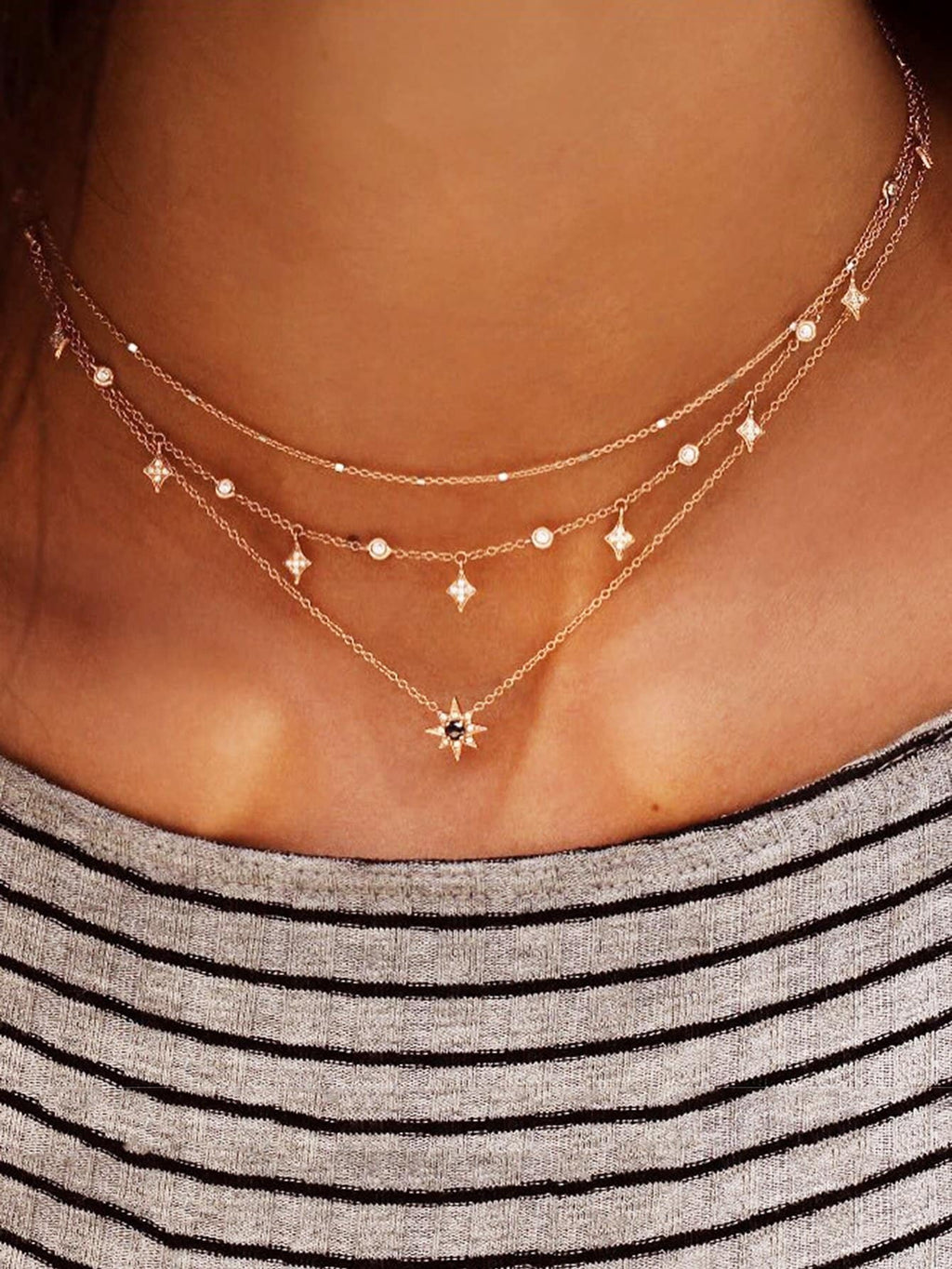 Star Charm Layered Chain Necklace