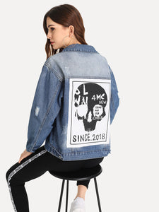Human Skeleton Type Ripped Denim Jacket