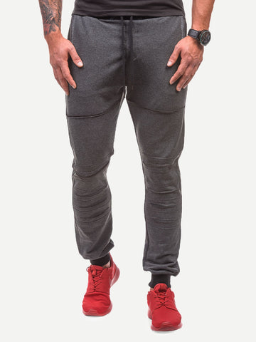 Men Ripped & Pocket Detail Solid Joggers