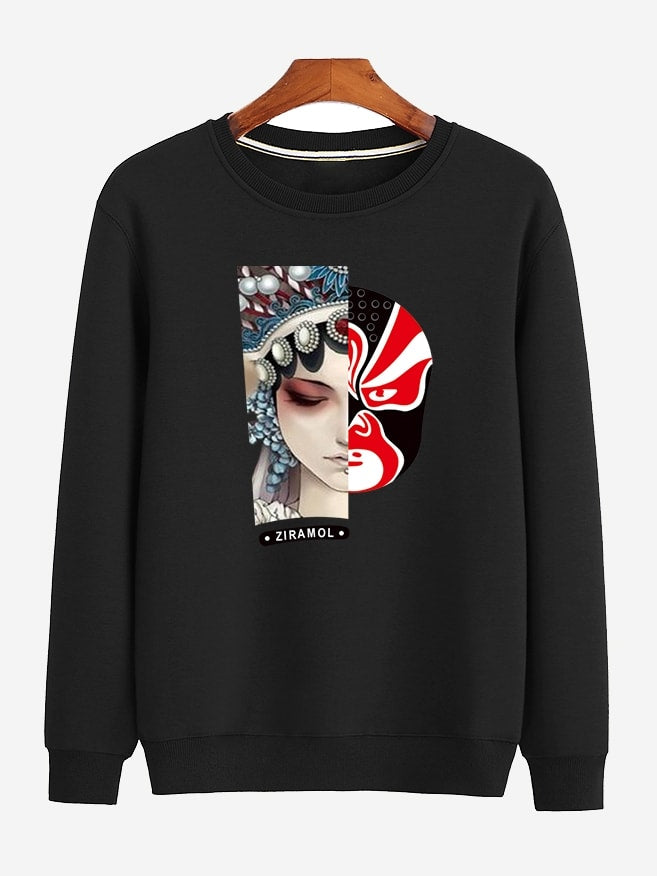 Men Peking Opera Print Sweatshirt