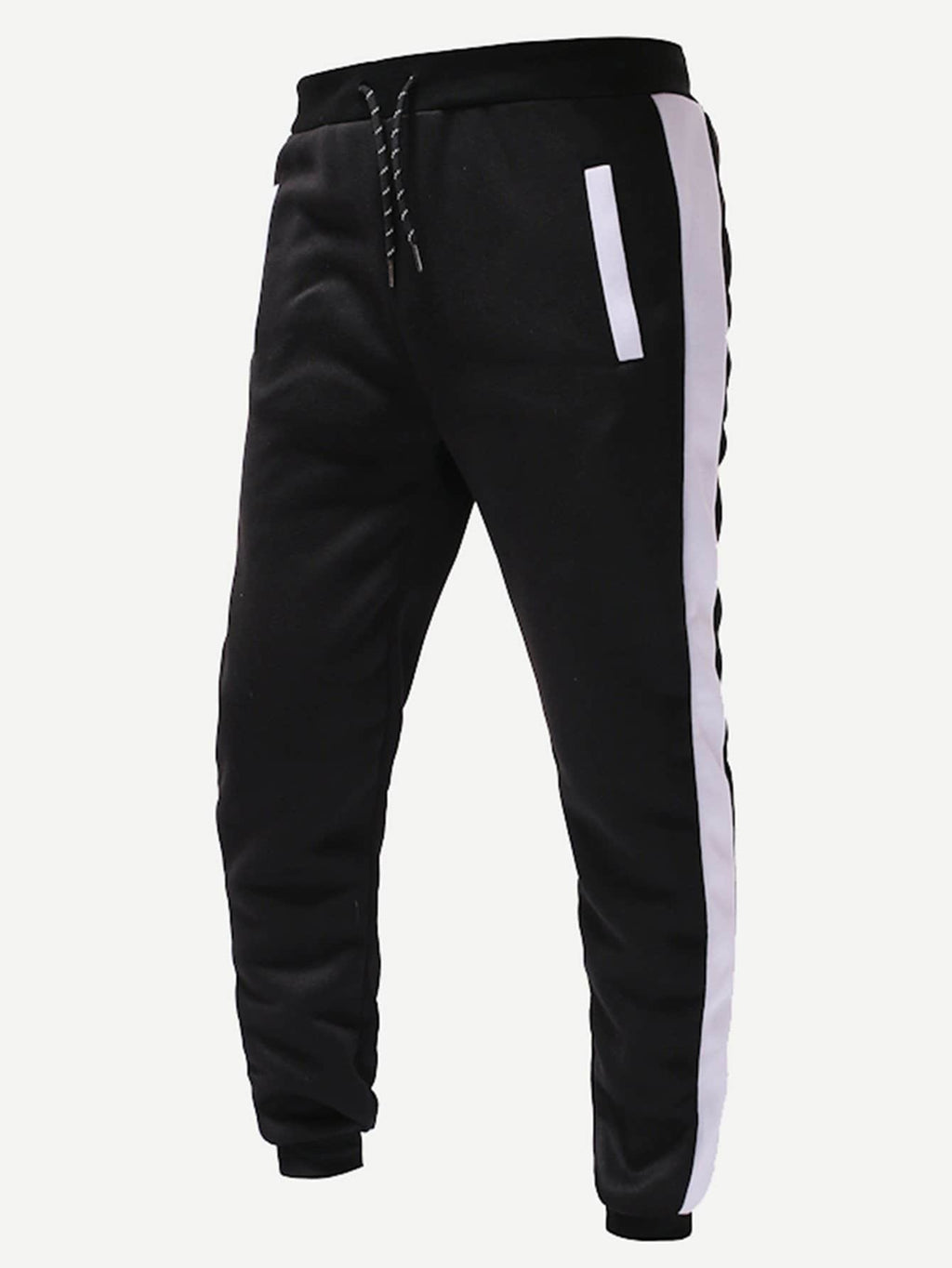 Men Contrast Side Drawstring Joggers