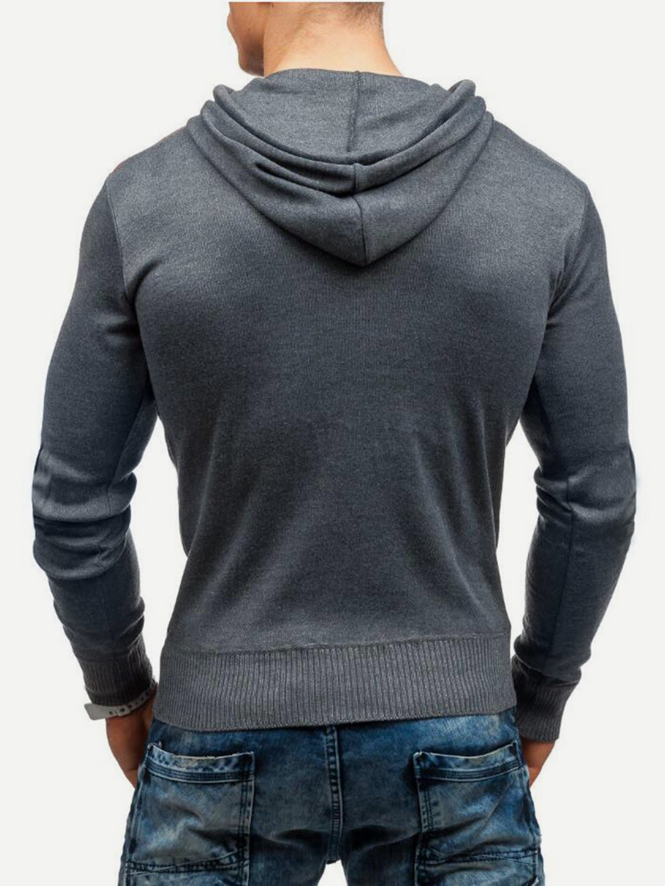 Men Drawstring Detail Hooded Sweatshirt