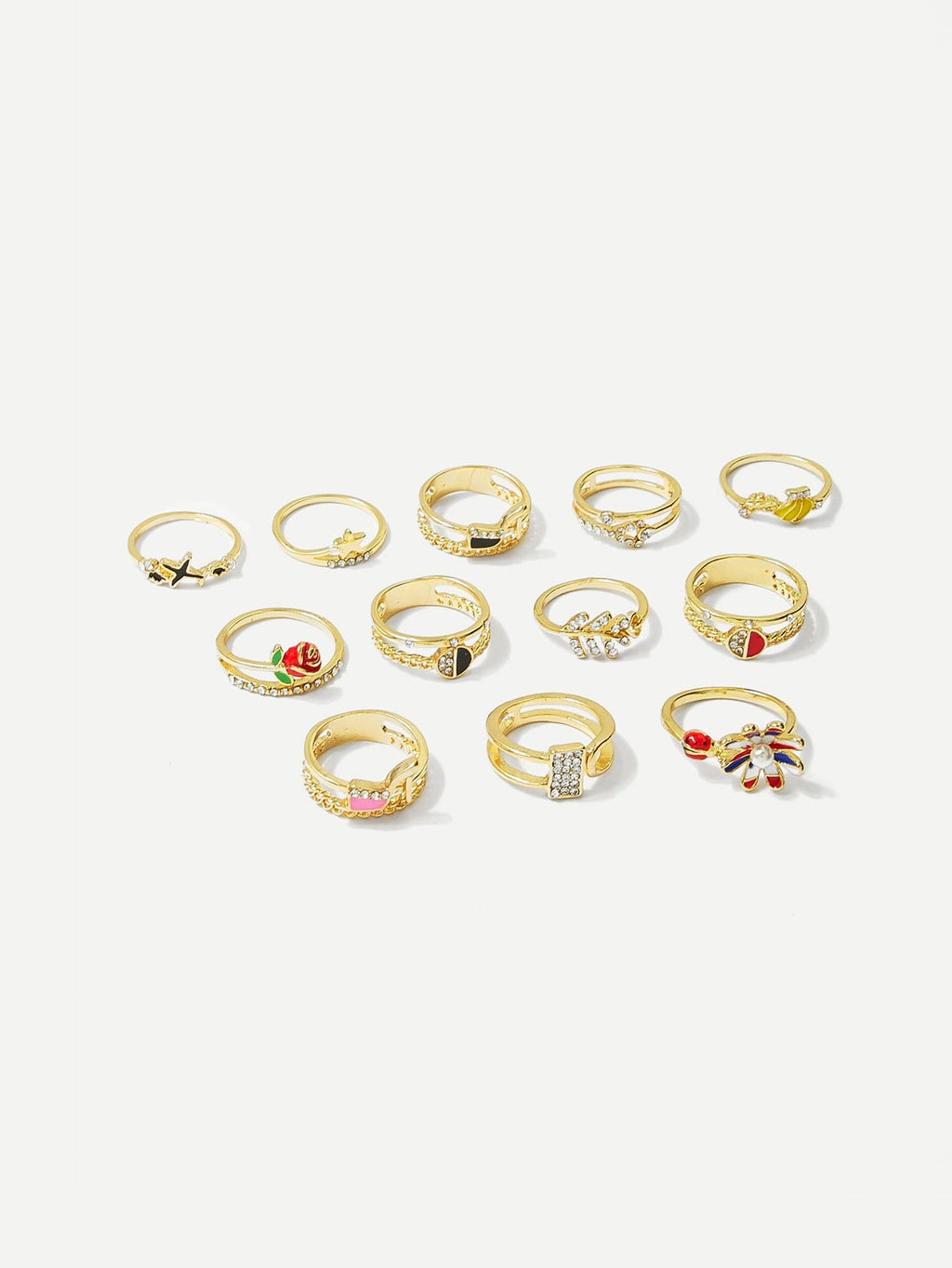 Banana & Rose Ring Set 12pcs