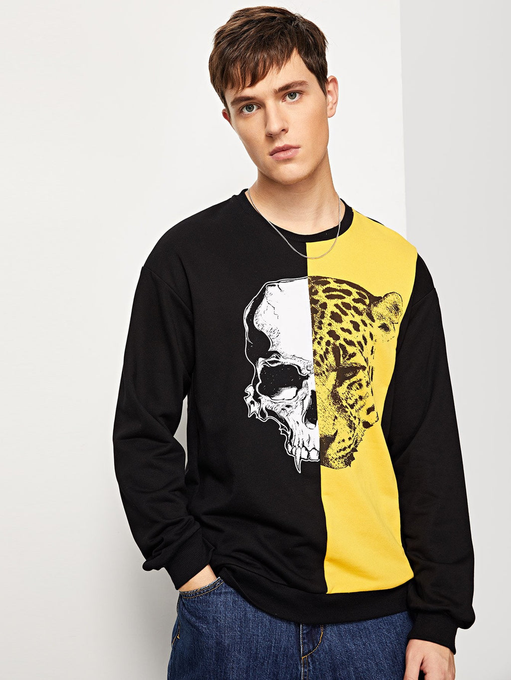Men Mixed Print Color Block Pullover