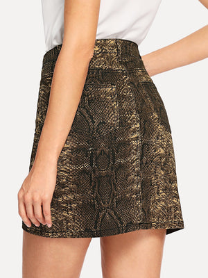 Snakeskin Pattern Denim Skirt