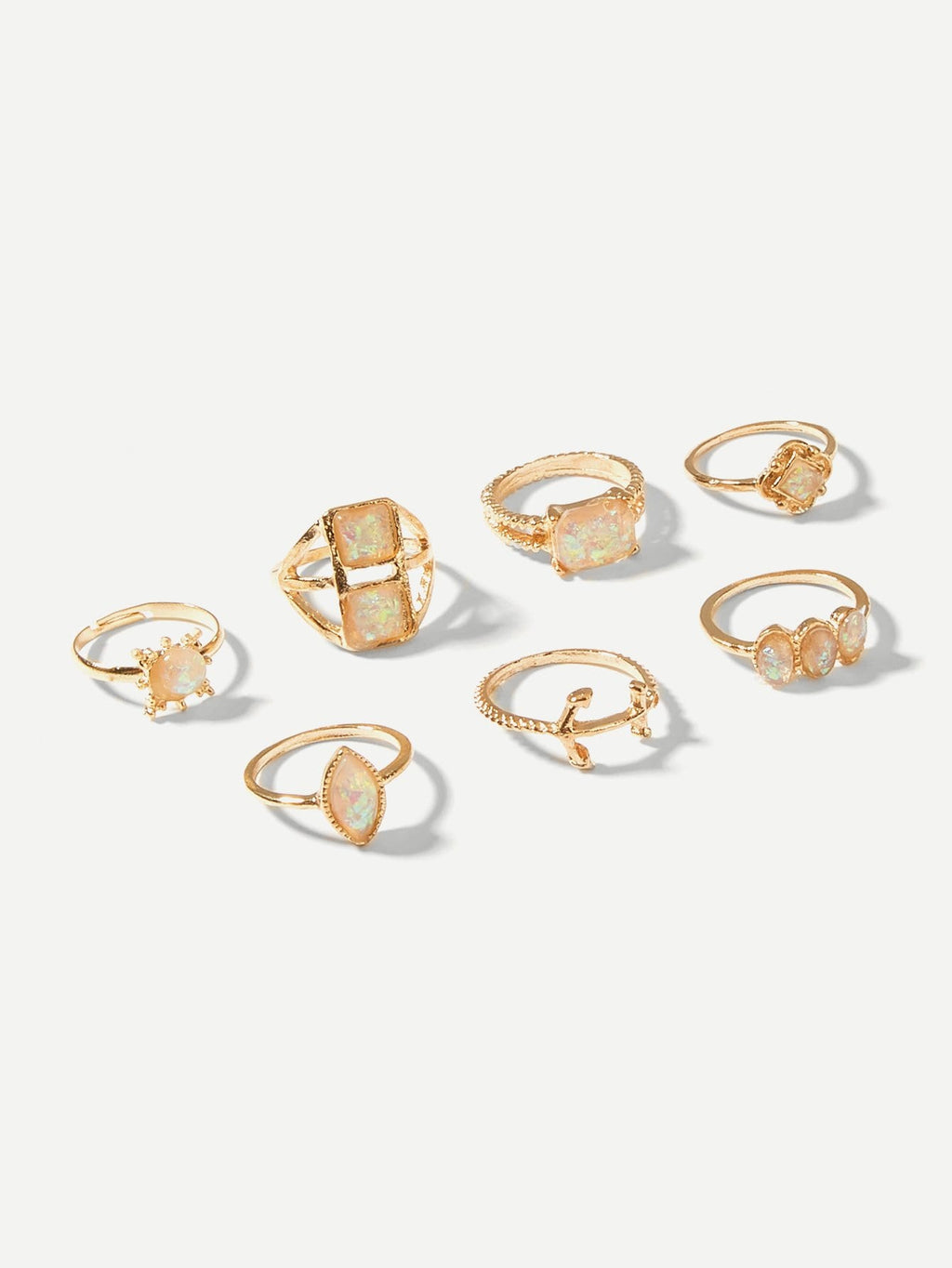 Anchor & Geometric Gemstone Ring Set 7pcs