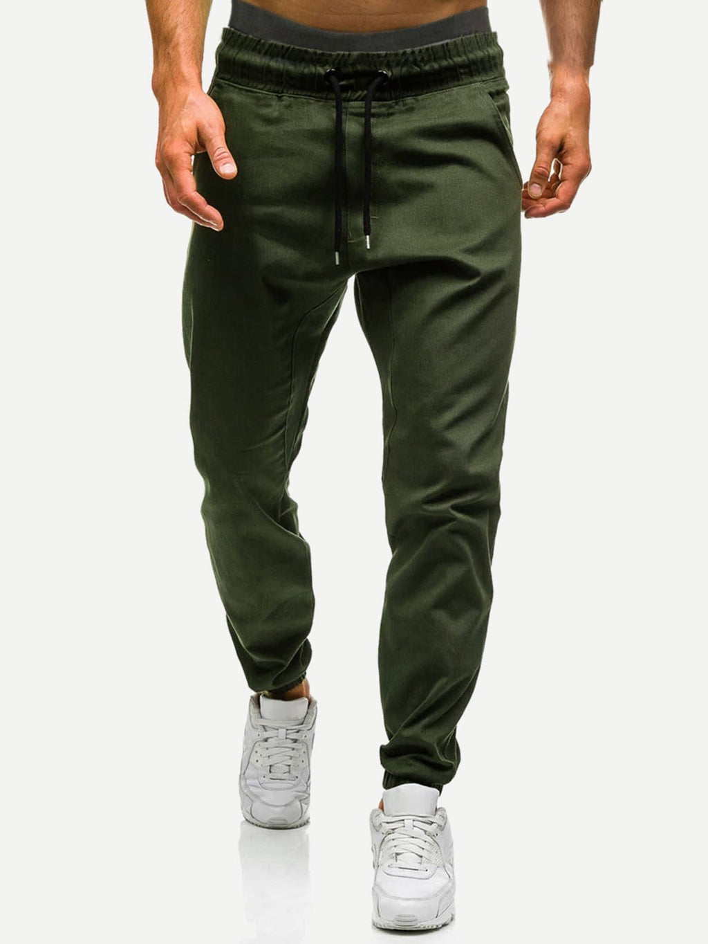 Men Drawstring Waist Solid Joggers