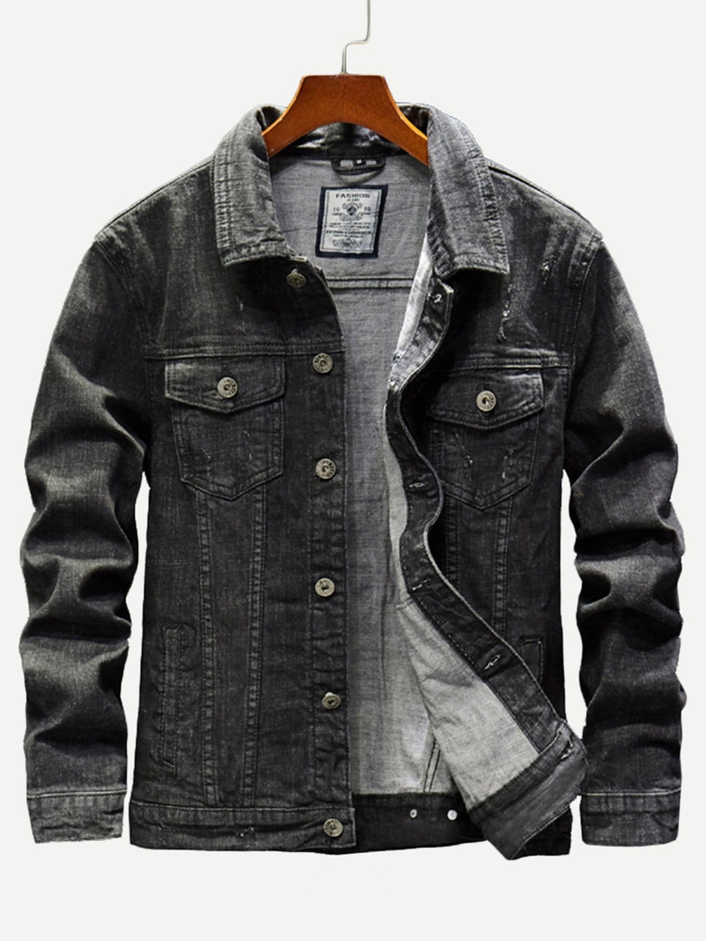Men Pocket Decoration Wash Denim Jacket