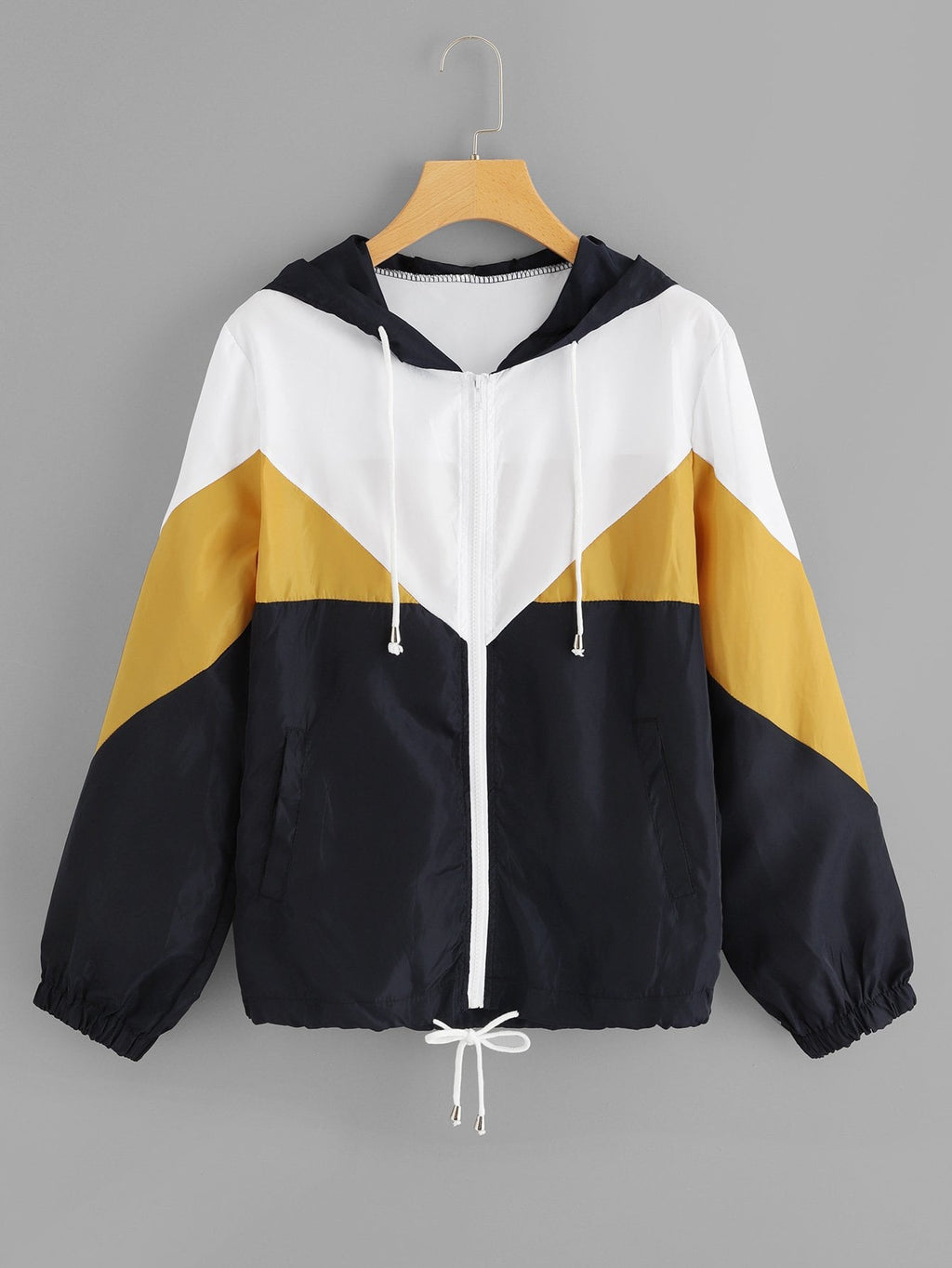 Color Block Drawstring Hem Hooded Jacket