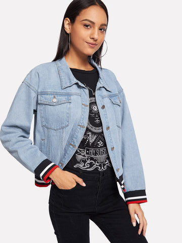 Striped Hem Light Wash Denim Jacket