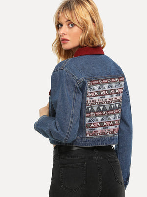Embroidery Jacquard Back Crop Jacket