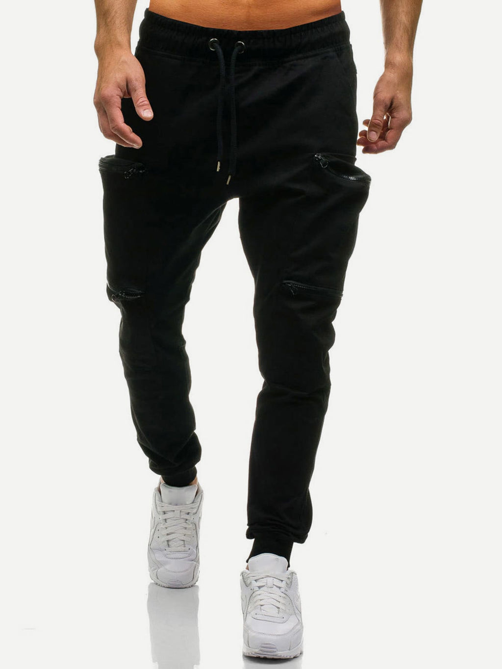 Men Pocket Plain Drawstring Pants