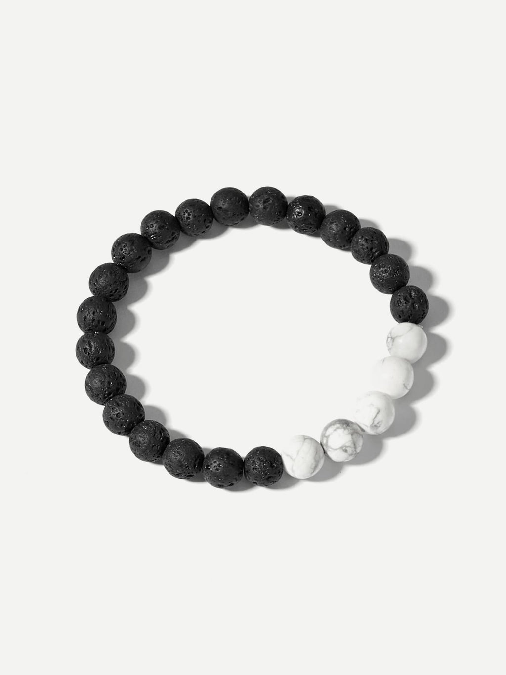 Men Two Tone Beaded Bracelet
