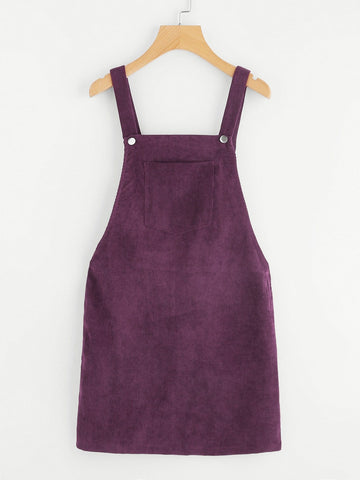 Bib Pocket Front Overall Corduroy Dress
