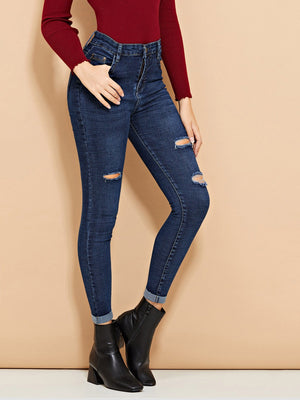 Roll Up Hem Knee Rips Skinny Jeans