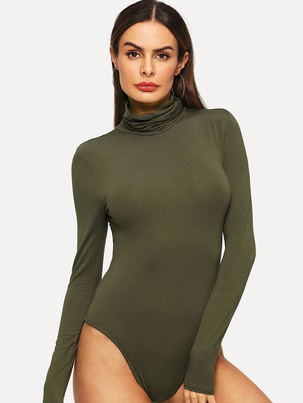 High Neck Heather Knit Bodysuit
