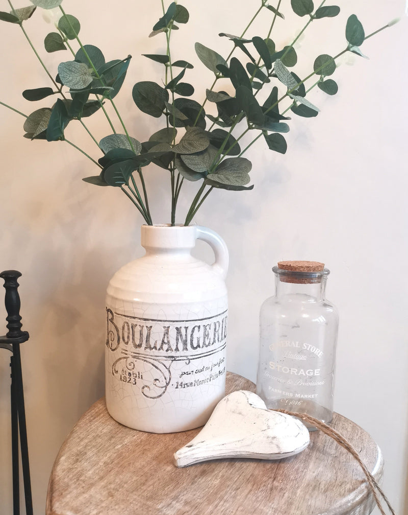 White Distressed Boulangerie Bottle - The Burrow Interiors