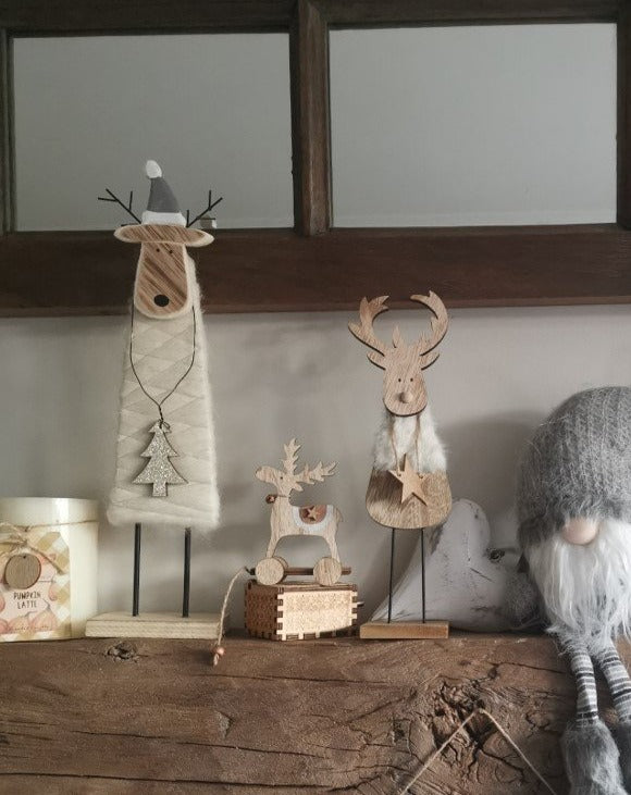 Tall Wood & Wool Reindeer