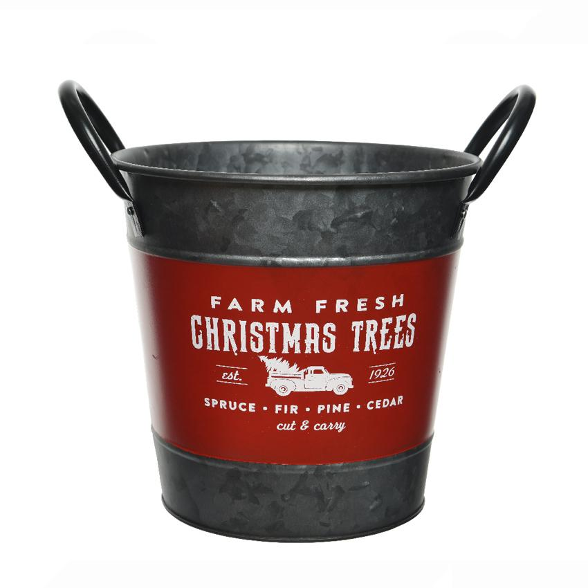 Country Christmas Tree Metal Bucket - TBI