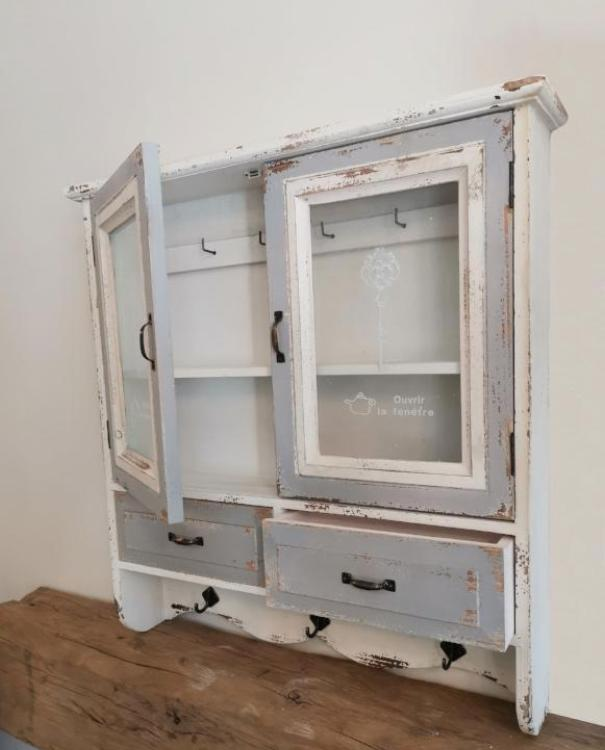 French Distressed Wall Cabinet Shabby Chic - TBI
