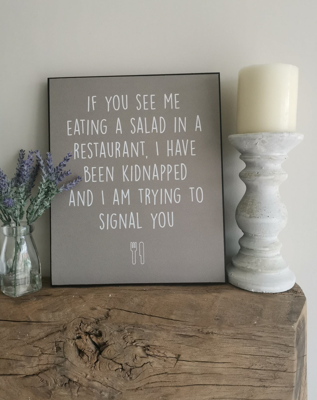 Grey Plaque Eating Salad Sign - TBI