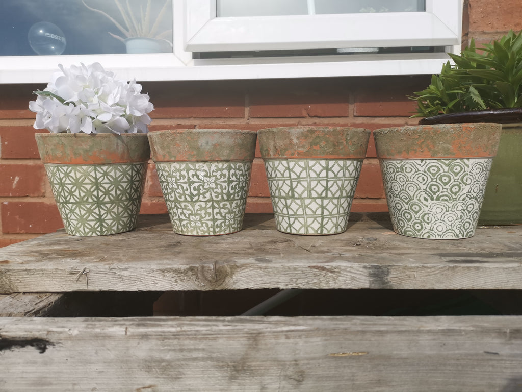Green Patterned Planters - TBI