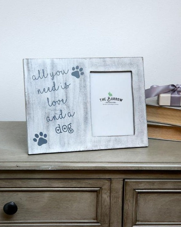 Love And A Dog White Photo Frame | TBI