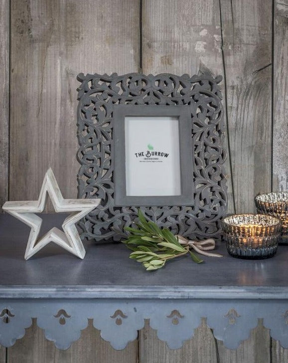 6x4 Grey Hand Carved Detailed Frame | TBI