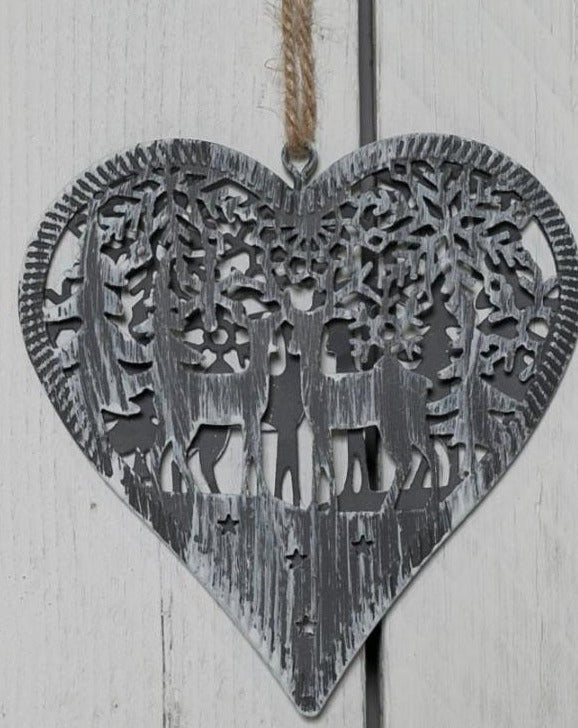 Grey Metal Hanging Heart Decoration