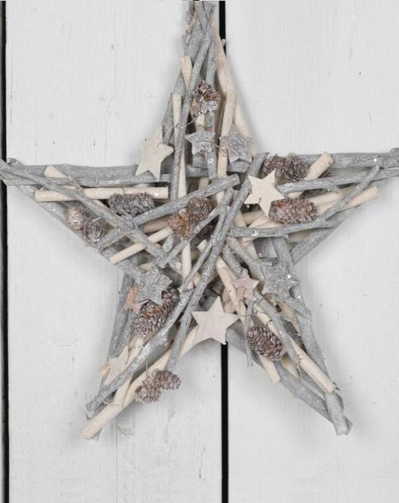 Grey Whitewashed Decorative Twig Star