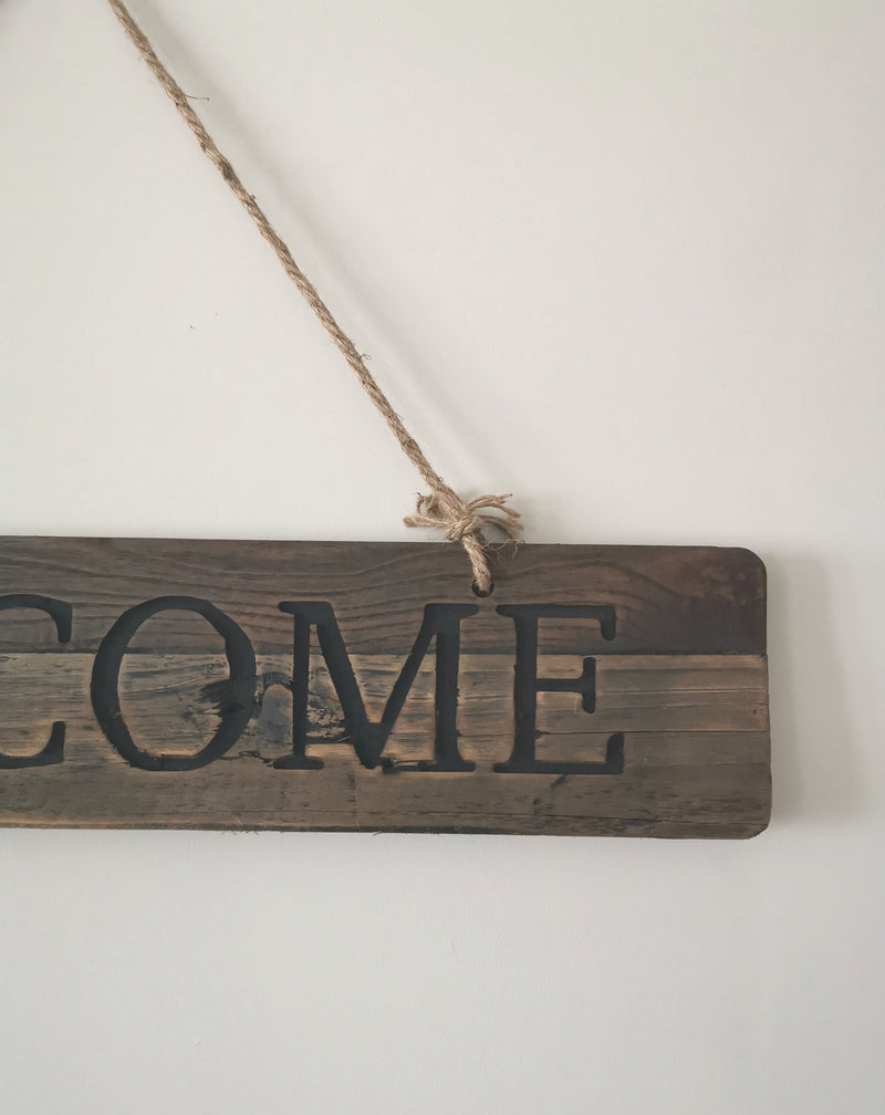 Welcome Sign With Rope - The Burrow Interiors