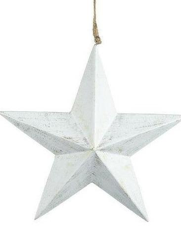 Hanging White Distressed Star - TBI